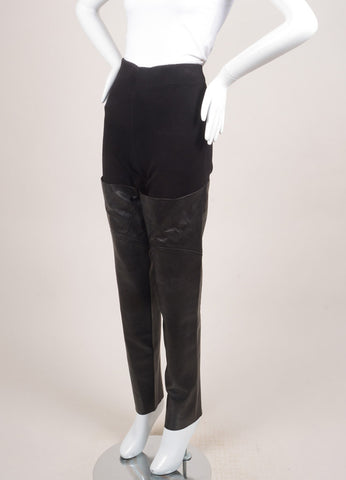 Raquel Allegra New With Tags Black Cotton and Leather Ribbed Knit Leggings Sideview
