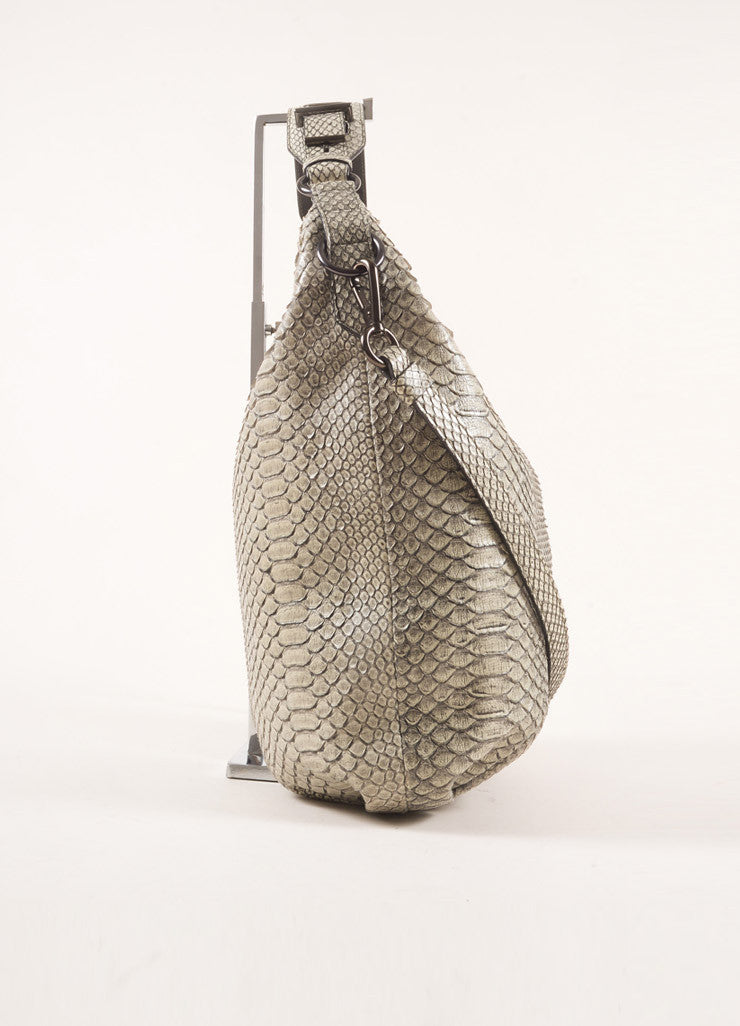 Reed Krakoff Grey Snakeskin Hobo Bag Sideview