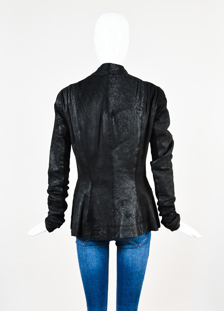 ¥éËRick Owens Black Leather Wool Knit Contrast Distressed Jacket Backview