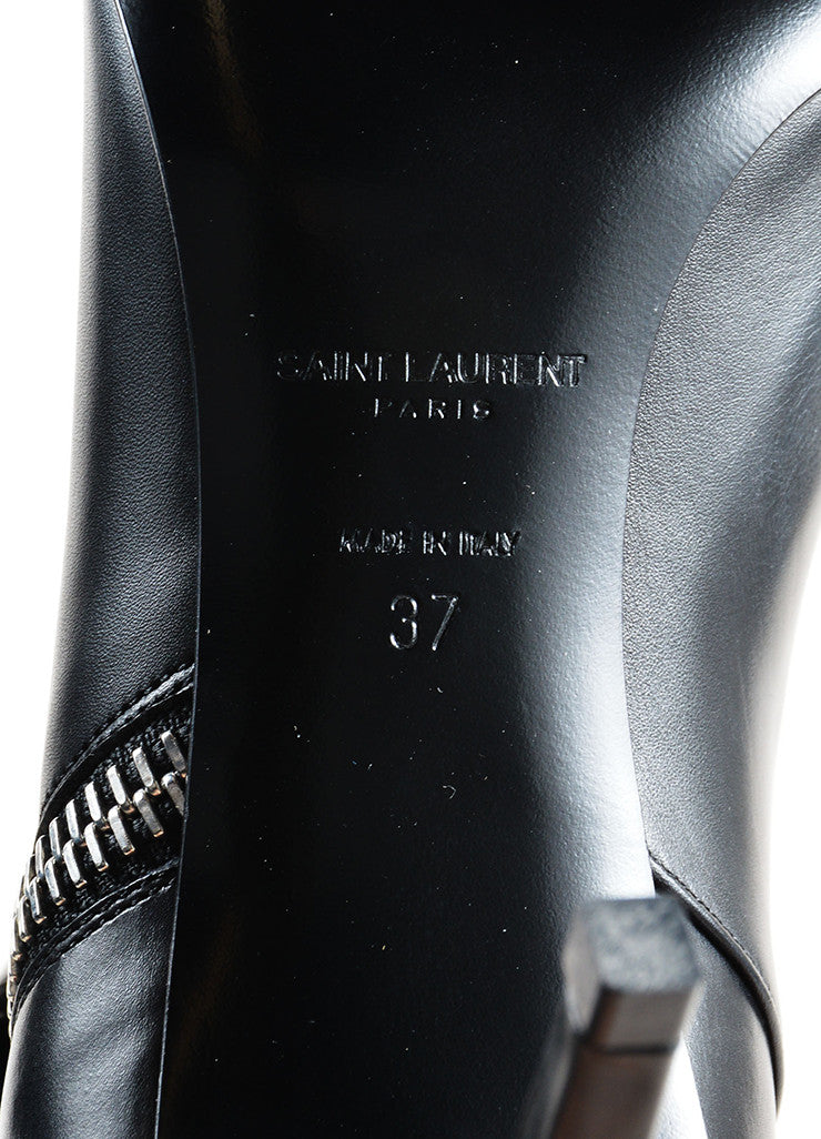 "Saint Laurent Black Leather Studded ""Paris"" Heeled Ankle Boots Brand"