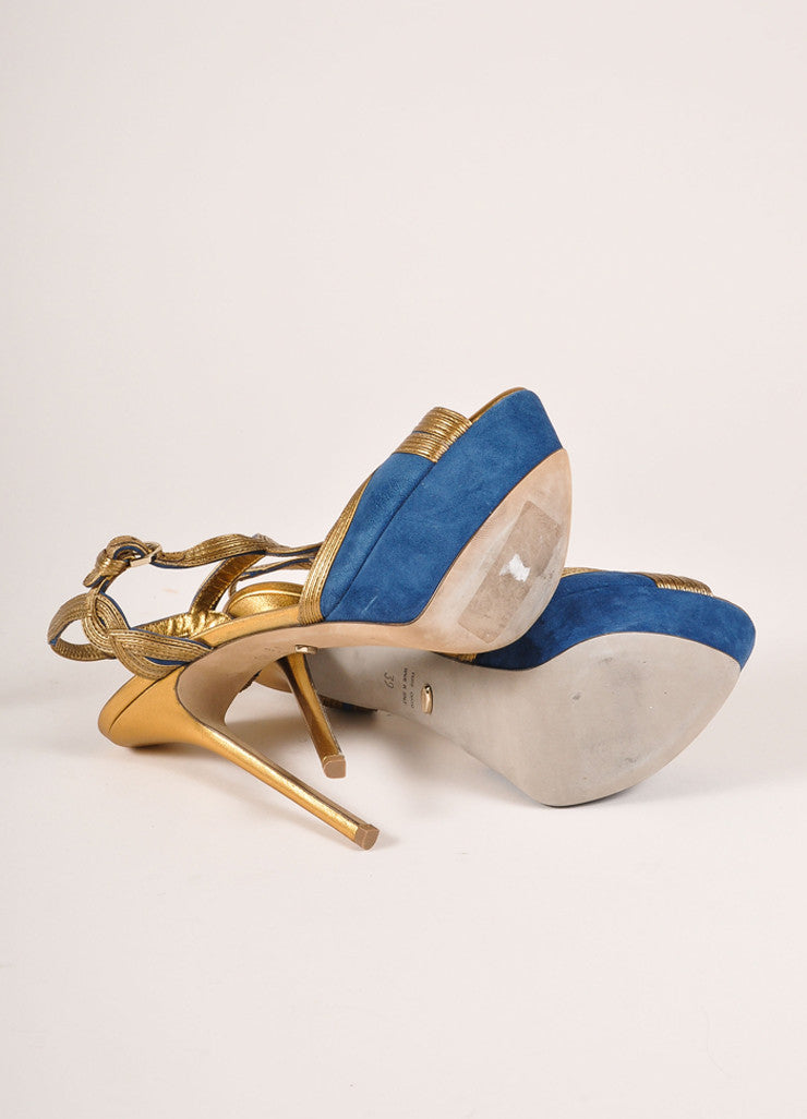 Sergio Rossi New In Box Blue and Bronze Suede Leather T-Strap Platform Pumps Outsoles