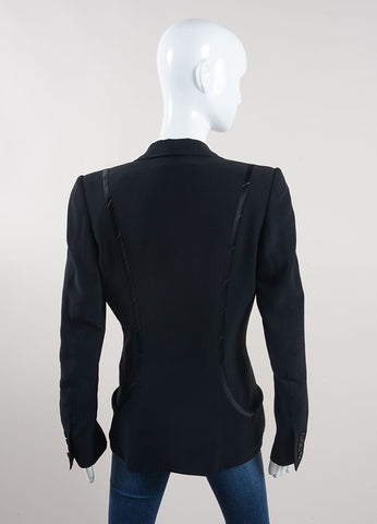 Stella McCartney Black Silk Trimmed Blazer Jacket Backview