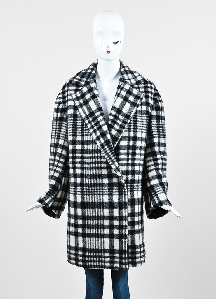 Stella McCartney Black and White Wool Plaid Oversized Pea Coat Frontview 2