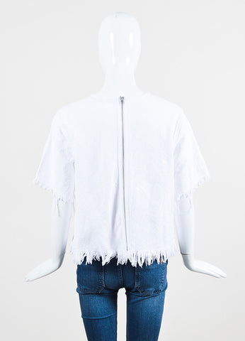 T by Alexander Wang White Woven Cotton Fringe Edge Zip Back Short Sleeve Top Backview