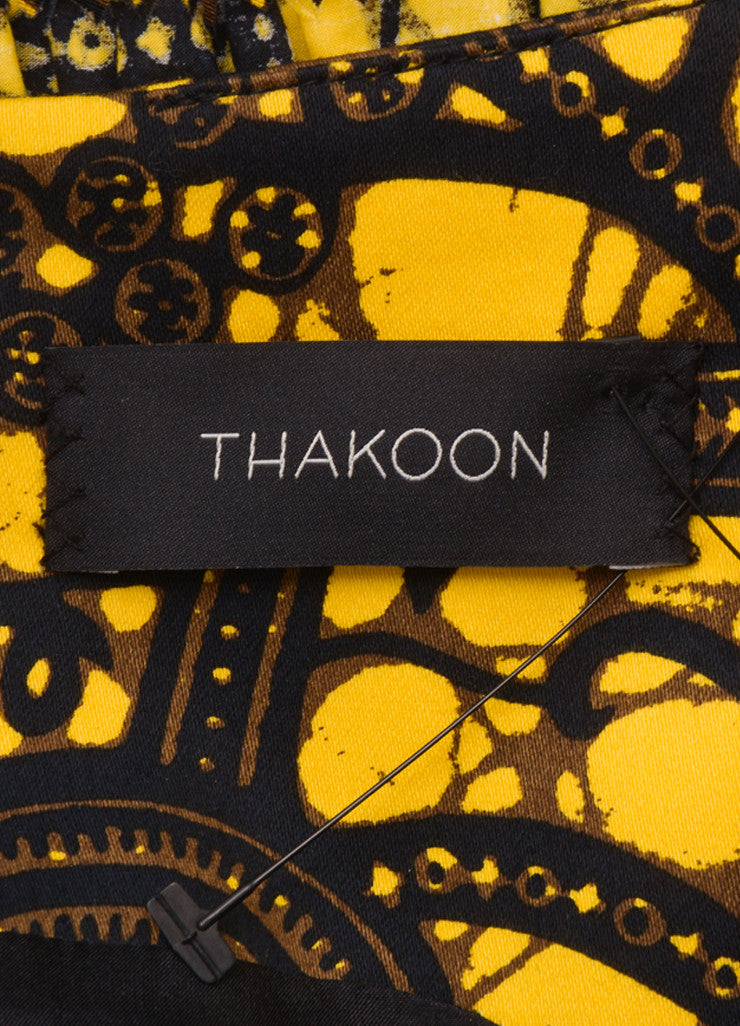 Thakoon Yellow, Black, and Brown Cotton Printed Ruffle Shift Dress Brand