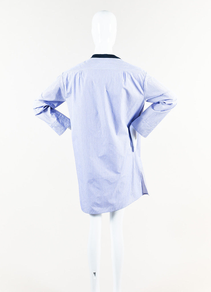 The Row Blue and White Cotton Striped Cropped Sleeve Tunic Shirt Dress Backview