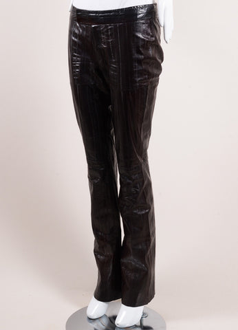 Tom Ford for Gucci Dark Brown Eel Leather Straight Leg Pants Sideview