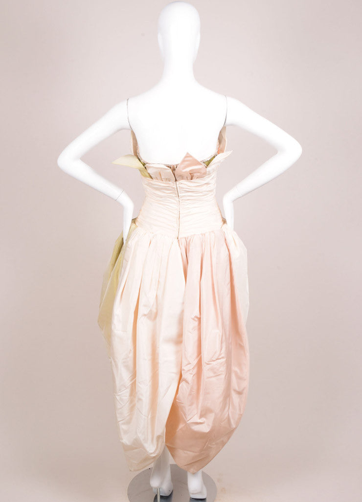 Bob Mackie Cream, Pink, and Green Silk Leaf Ruched Strapless Gown Backview