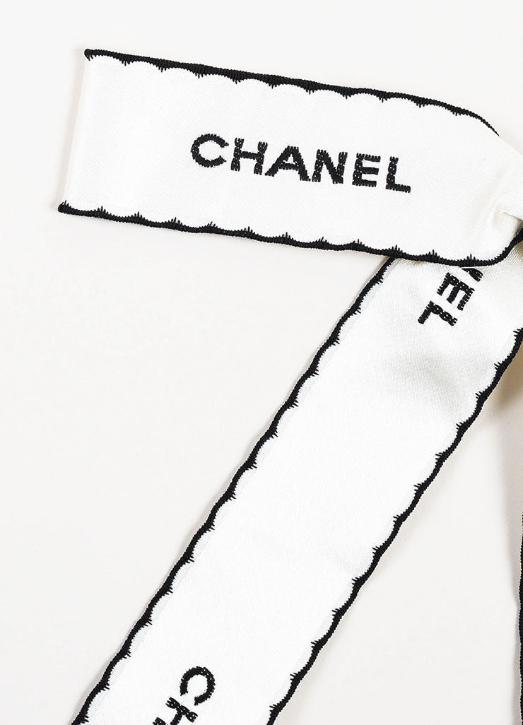 White and Black Chanel Satin Embroidered Oversized Large Pin Brooch Detail