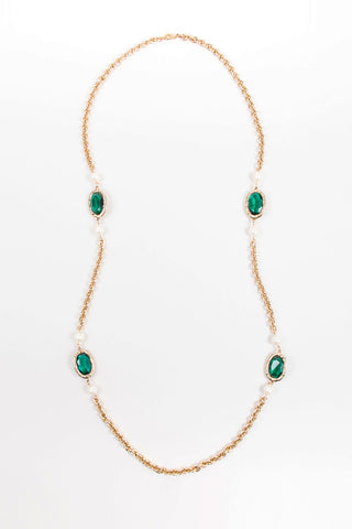 Gold Toned, Green Glass, and Faux Pearl Beaded Long Chain Necklace Frontview