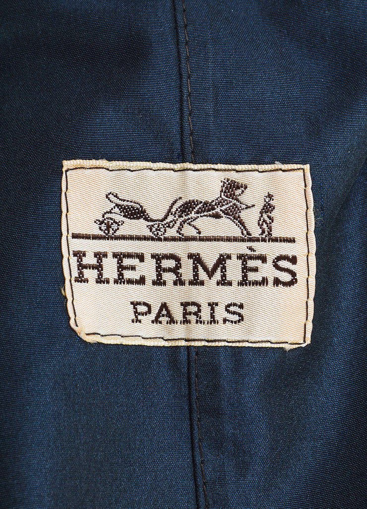 Navy Hermes Silk Logo Button Double Breasted Belted Trench Coat Brand