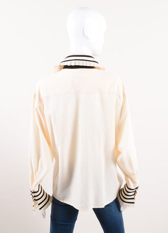 Karl Lagerfeld Cream and Black Ruffle Trim Button Down Long Sleeve Blouse Backview