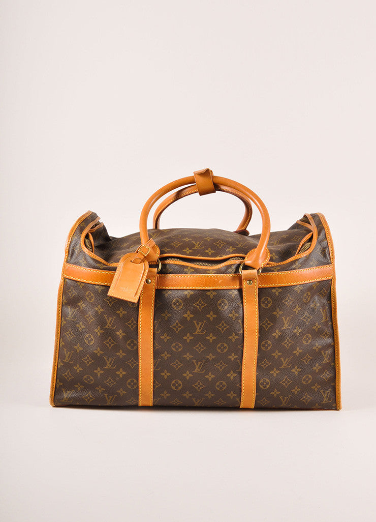 Louis Vuitton Brown Coated Canvas Monogram Hard Case Zip Duffel Bag Frontview