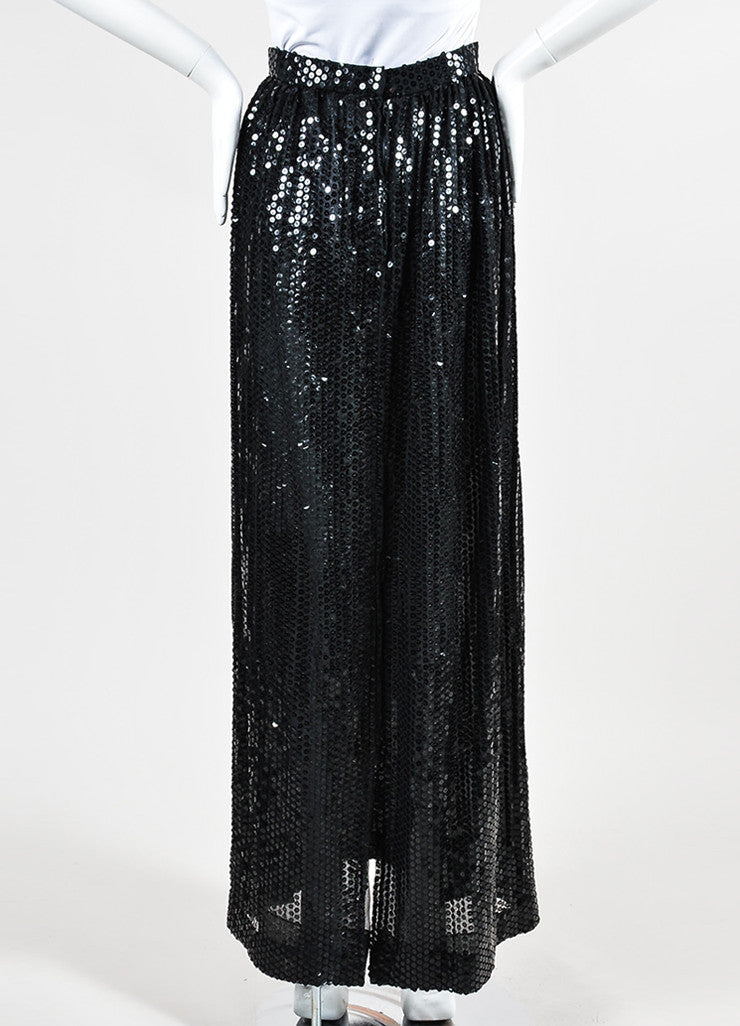 Black Oscar de la Renta Sequin Embellished Pleated Maxi Skirt Backview