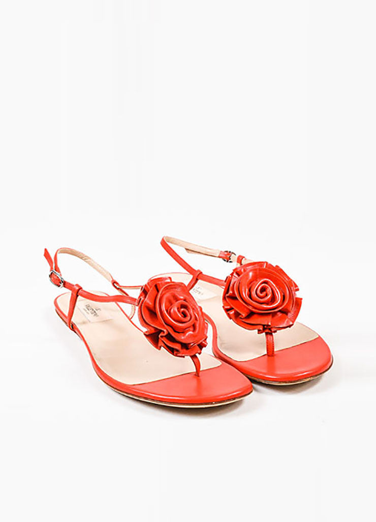 Valentino Garavani Red Leather Rosette Flat Sandals Frontview