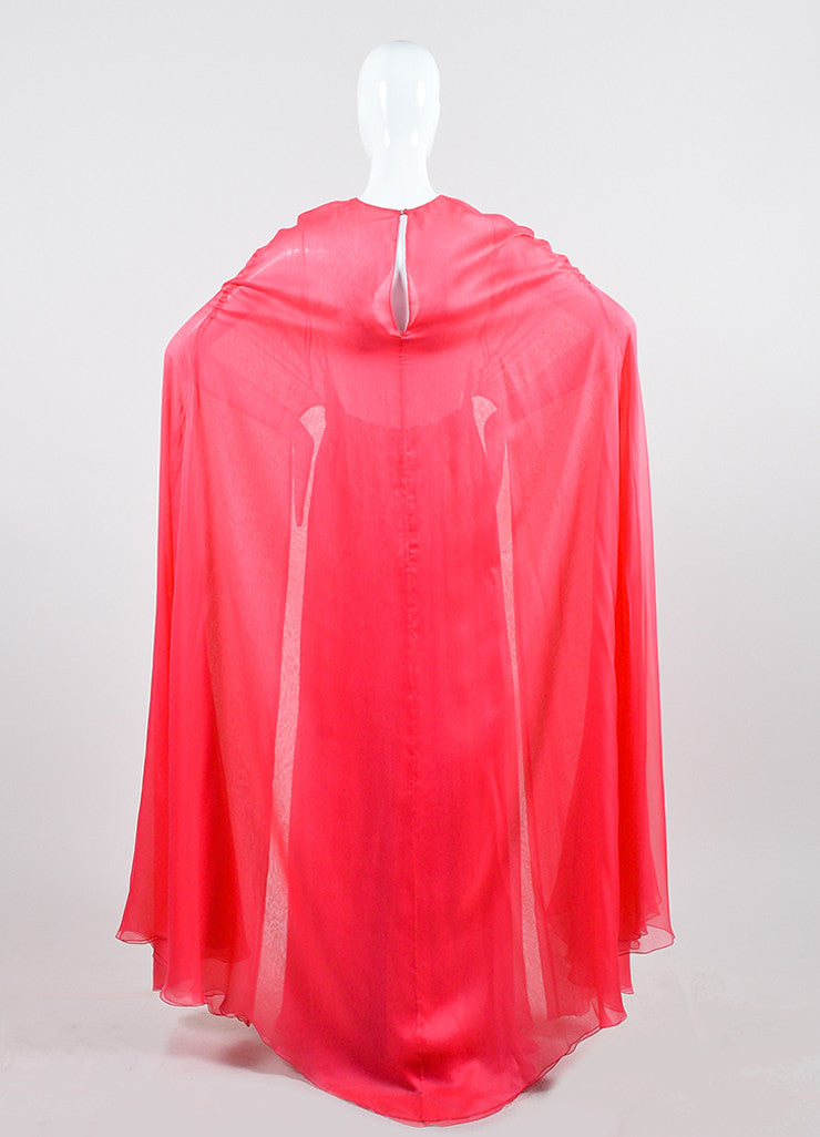 Coral Pink Valentino Silk Chiffon Cape Gown Backview