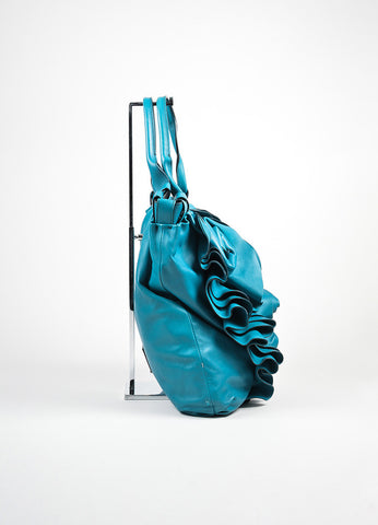 "Turquoise Leather Valentino ""Rose Vertigo"" Hobo Bag Sideview"