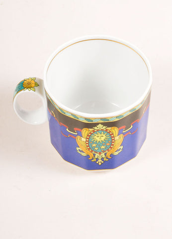 "Versace Rosenthal Multicolor Sun Scroll Print "" Le Roi Soleil"" Small Coffee Cup Topview"