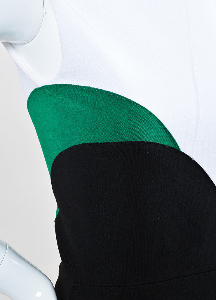 "Black White Victoria Beckham ""Denise Rib"" SL Dress Detail"