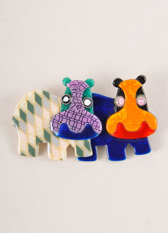 Lea Stein Multicolor Acetate Double Hippo Brooch Frontview