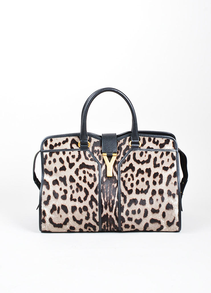 "Leopard Pony Hair Yves Saint Laurent ""Medium Cabas Chyc"" Tote Bag Frontview"