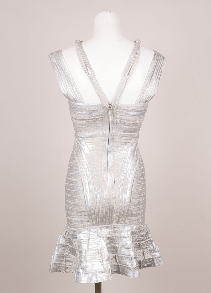 Silver Metallic Herve Leger Knotted Strappy Trumpet Skirt Bodycon Dress