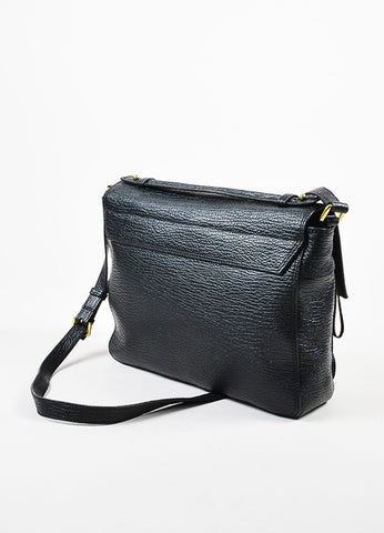 3.1 Phillip Lim Black Textured Leather Pashli Messenger Bag Sideview