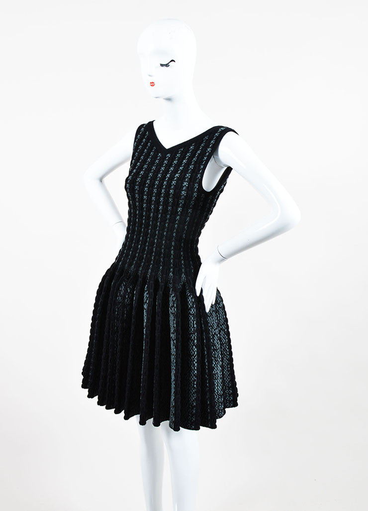 Black and Grey Alaia Wool Knit Python Pattern Sleeveless Fit & Flare Dress Sideview