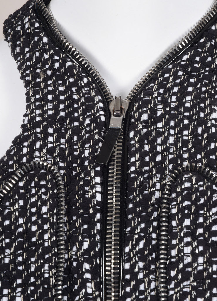 Alexander McQueen Black and White Cotton Tweed Zipper Racer Back Dress Detail
