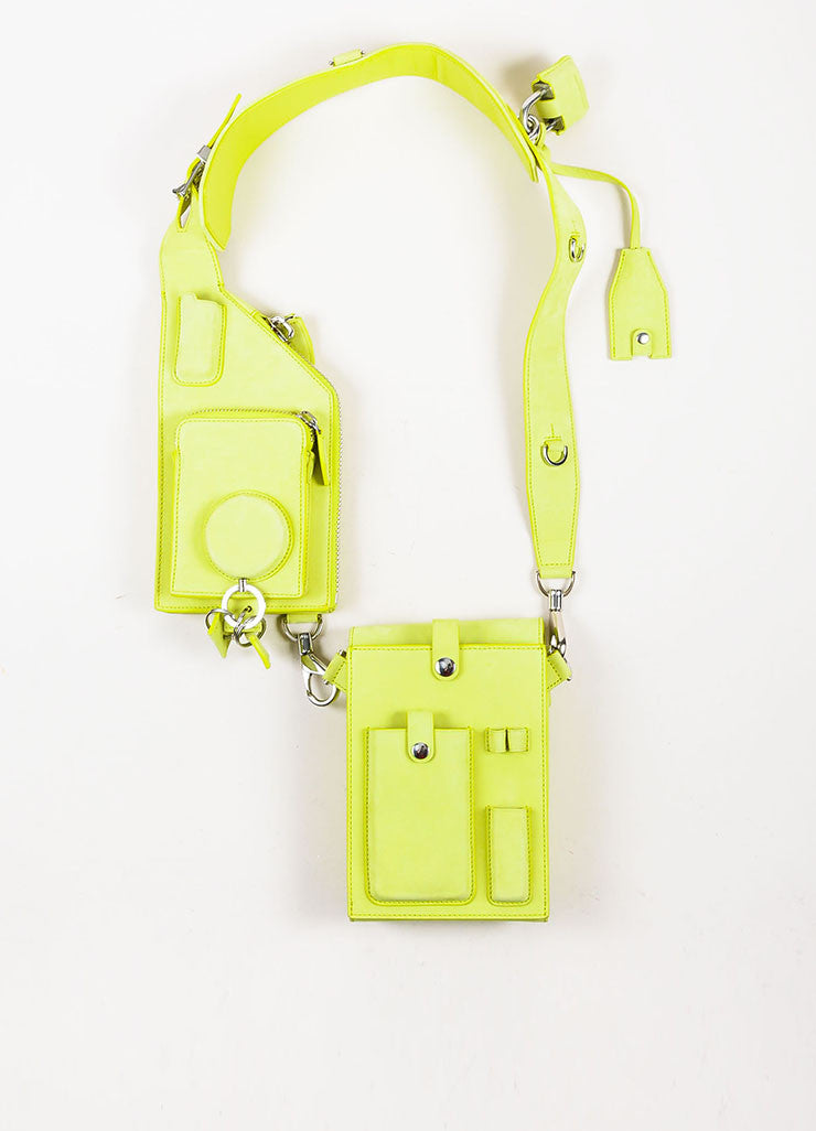 "Alexander Wang Lime Green ""Citrine"" Suede ""Runway Survival Kit"" Bag Frontview"