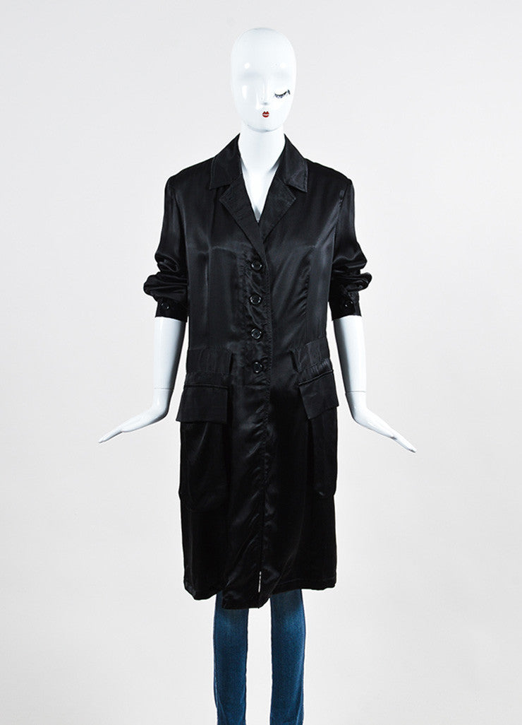 Ann Demeulemeester Black Sateen Cargo Pocket Long Coat Frontview 2