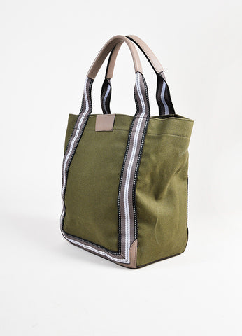 "Anya Hindmarch Olive Canvas Leather Trim No Entry Sign ""Pont"" Tote Bag angle"