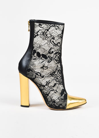 Balmain Black Metallic Gold Lace Leather Cap Toe Chunky Heel Booties Sideview