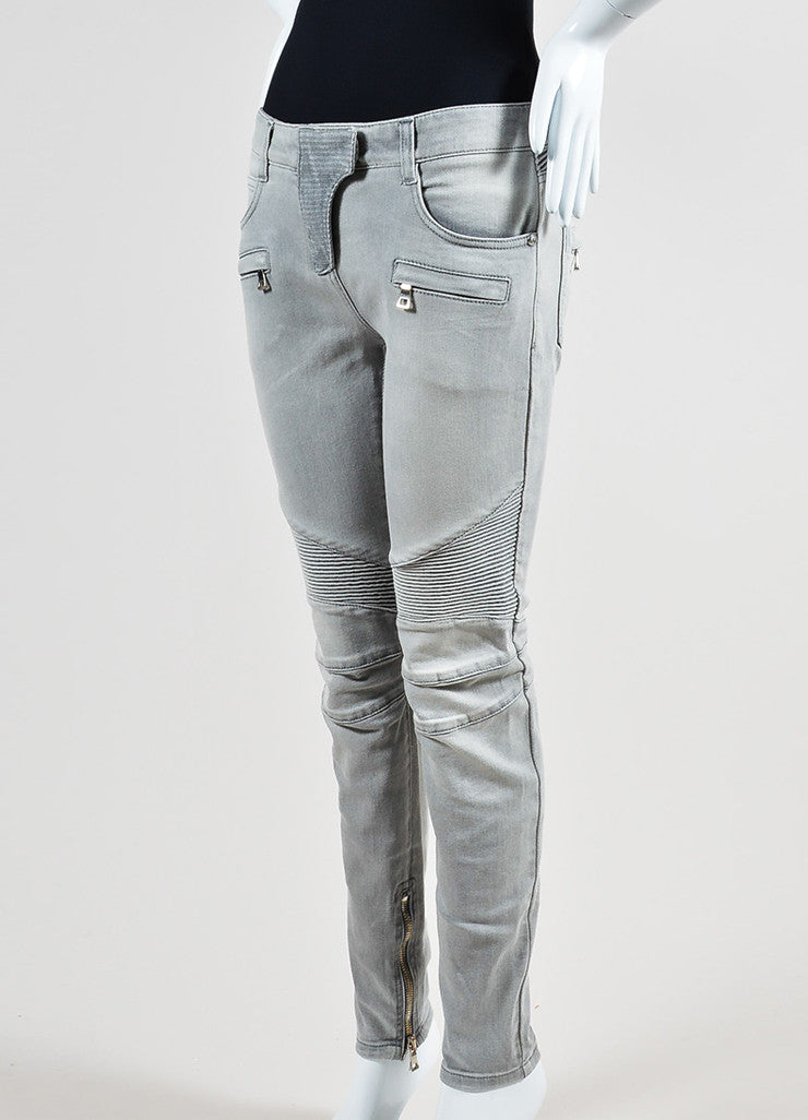 Light Grey Denim Balmain Moto Seamed Skinny Jeans Sideview