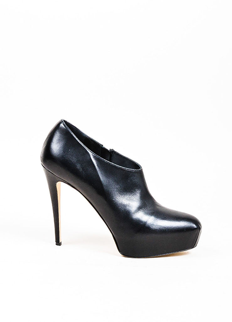 "Black Brian Atwood Leather Hidden Platform ""Cohen"" Ankle Booties Sideview"
