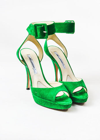 Green Brian Atwood Suede Ankle Strap Platform Sandals Front