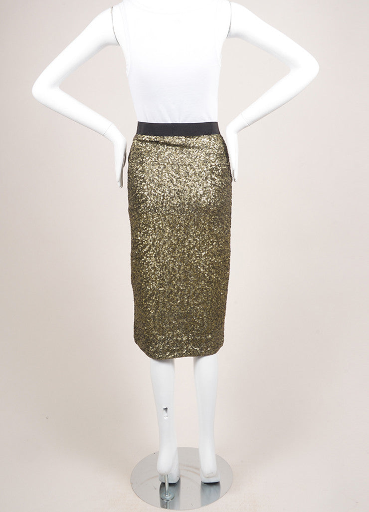 "By Malene Birger New With Tags Gold and Black Sequin Embellished ""Helic"" Skirt Backview"