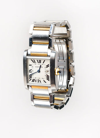 "Cartier Stainless Steel and 18K Yellow Gold ""Tank Francaise"" Bracelet Watch Sideview"