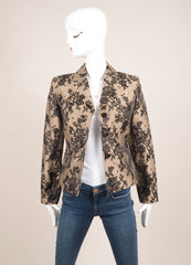 Celine Black and Nude Silk and Cotton Lace Embroidered Blazer Frontview