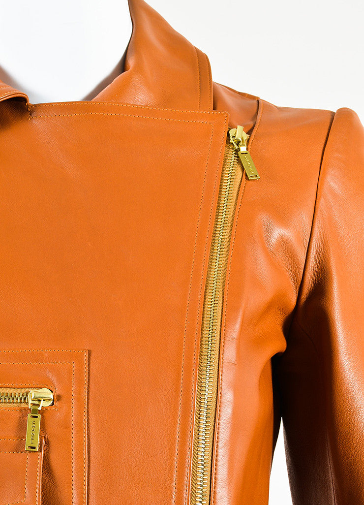 Chanel Brown Leather Asymmetrical Pocket Zip Moto Jacket Detail