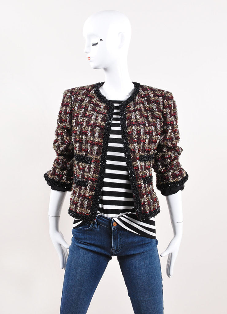 Chanel Dark Red and Black Wool Blend Metallic Woven Sequin Jacket Frontview