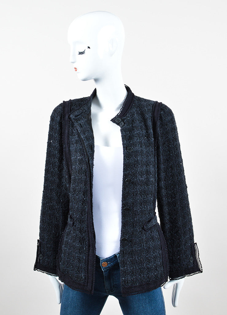 "Chanel Navy Blue Cotton Blend Textured ""CC"" Logo Button Down Jacket Frontview"