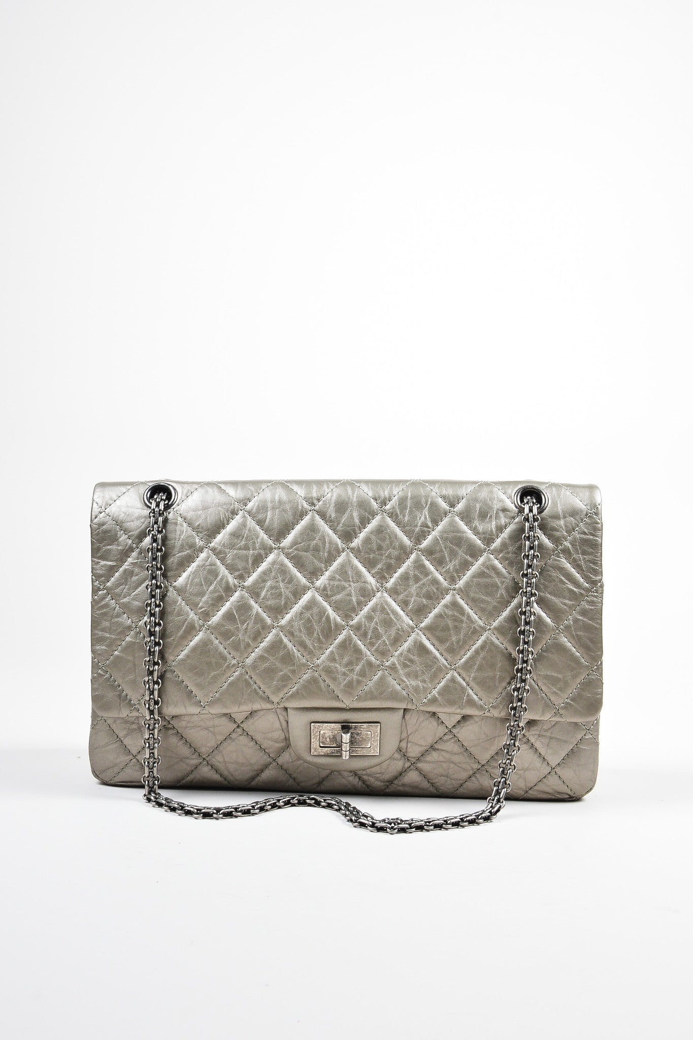 "Metallic Silver Leather Chanel ""2.55 Reissue 227"" Quilted Jumbo Flap Bag Frontview"