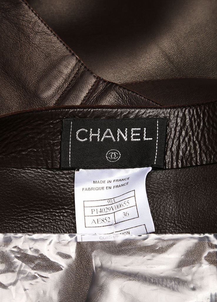 Chanel Brown Leather Wrap Skirt Brand