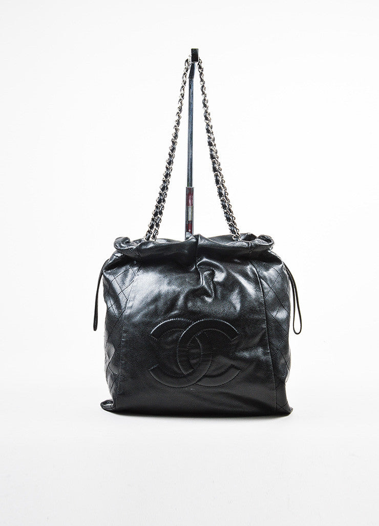 "Chanel Black Leather ""Caviar 31 Drawstring"" 'CC' Logo Chain Strap Bag Frontview"