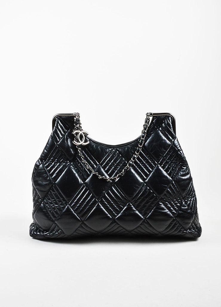 Chanel Black Leather Quilted and Padded 'CC' Detailed Oversize Hobo Bag Frontview