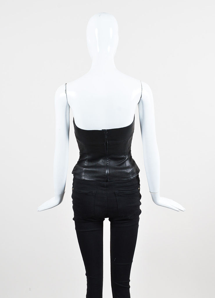 Chanel Black Leather Straight Neck Strapless Corset Top Backview