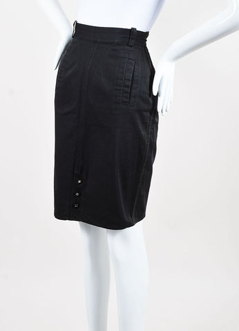 Chanel Dark Grey Cotton Denim Pencil Skirt Sideview