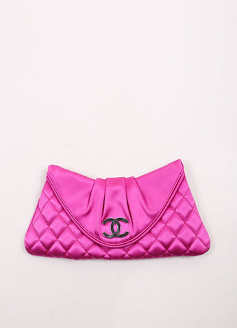 "Chanel Fuchsia Pink Satin Quilted ""CC"" Fold Over Half Moon Clutch Bag Frontview"