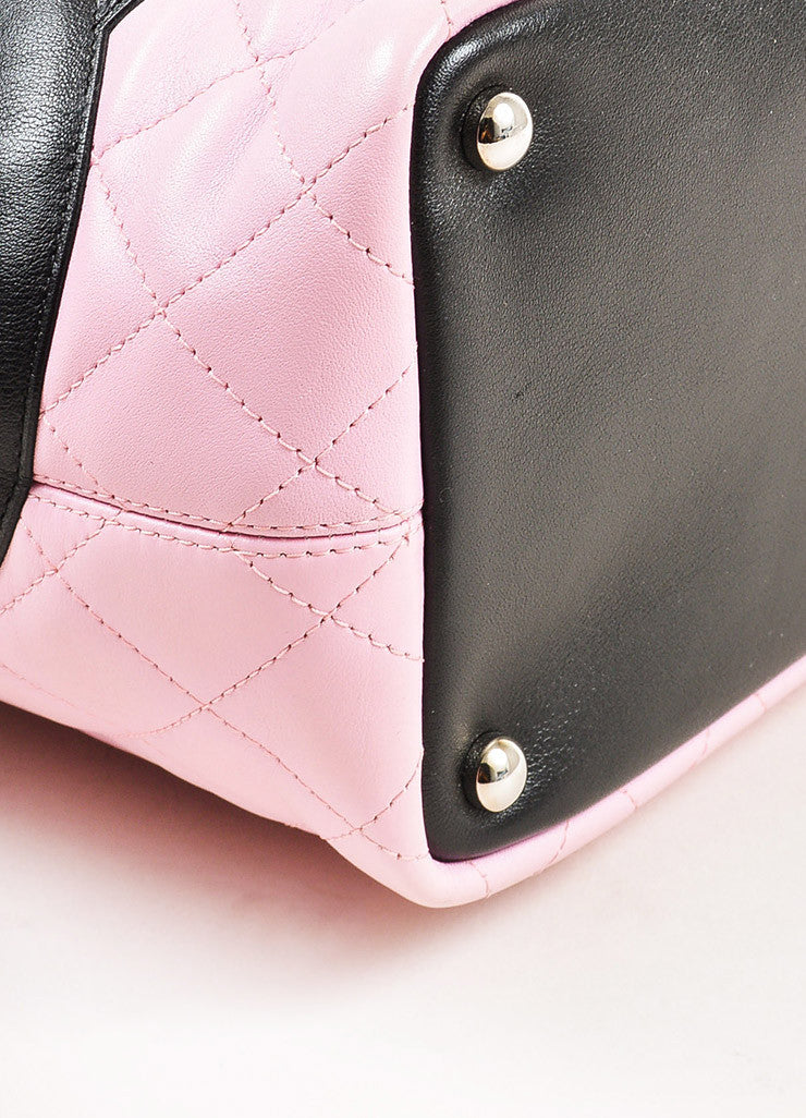 "Chanel Pink and Black Quilted Leather 'CC' Logo ""Ligne Cambon"" Tote Bag Detail"
